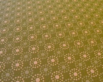 Modern Green Circle Upholstery Fabric - Retro