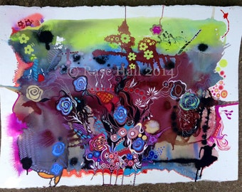 ORIGINAL Abstract, Detailed, Bold, Colorful, Mixed Media, Organic Watercolor Painting - 22 x 30 Rase Hall