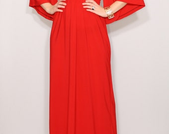 Long red dress Kimono sleeve dress Women Maxi dress