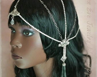 ON SALE Egyptian Goddess Rhinestone Headpiece Headdress Ready To Ship