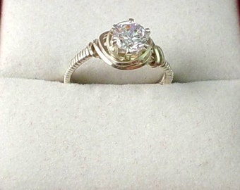 Sparkling Faceted White Topaz Jewel Sterling Silver Ring - Size 7.5