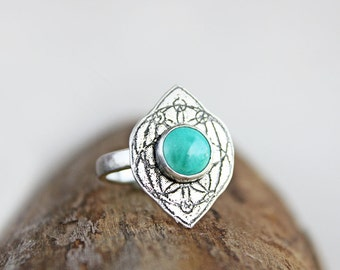 Turquoise ring, sterling silver Moroccan design, ancient Egyptian sacred geometry