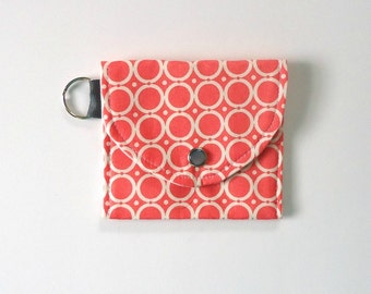 Coin Purse, Change Purse, Keychain Wallet in a fun Coral with circles, Vegan