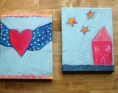 """fly & shine-SPECIAL set of 2-original folk art paintings, 8"""" x 10"""" x 1/2"""" deep canvases, ready to hang"""