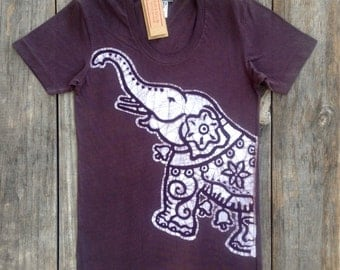 Elephant bio organic cotton batik tops & tees Eco friendly womens clothing hand painted hand dyed vintage black womens yoga top yoga clothes