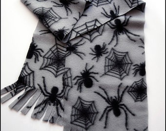 Cozy Grey Fleece Scarf with Black Spiders and Webs - Brand New & Ready to Ship!