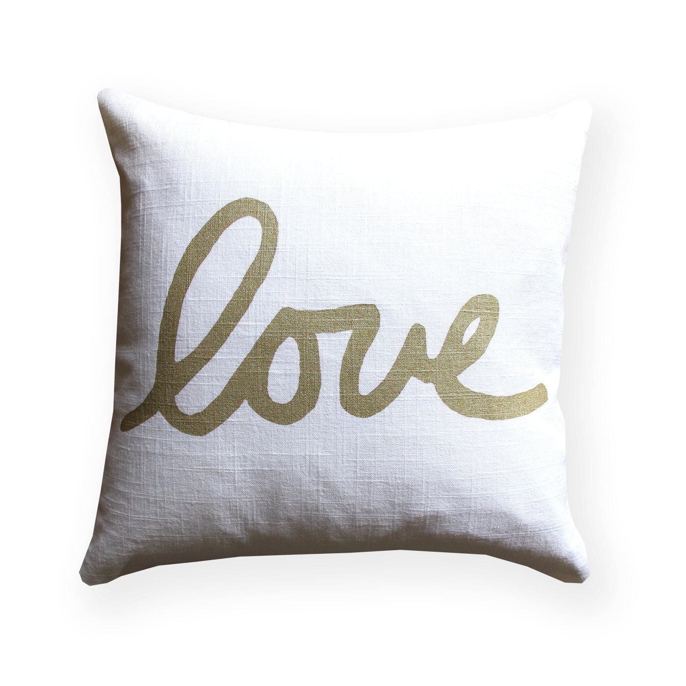 White Gold Throw Pillow : Metallic Gold and White Love Throw Pillow Square Love Pillow