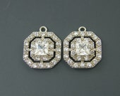Clear Crystal Rhinestone Silver White Double Halo Cubic Zirconia Earring Findings Pendant Charms |S9-2|2