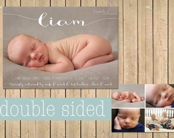 Name BIRTH ANNOUNCEMENT - Baby boy announcement - Baby girl announcement - Double sided - Newborn Printable Digital Simple modern collage
