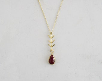 Rose Cut Ruby Necklace | Pear Shaped Ruby Pendant | July Birthstone | Recycled Gold 18k Arrow Charm | Future Heirloom