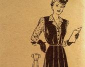 Vintage 1940s Blouse & Jumper Pattern Anne Adams 4685 Mail Order Pattern Bust 38 Pinafore Dress Pattern Factory Folded