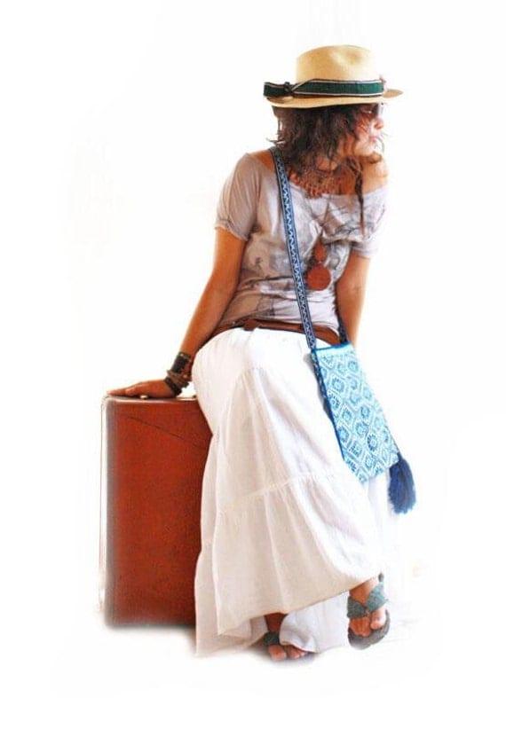 gazella mexican white maxi skirt dress bohemian by