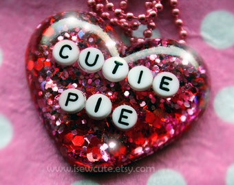 Cutie Pie, Necklace for Girl, Sweet Heart Resin Glitter Heart, Big Pendant Necklace, Cute Girl's Gift for Your Sweetie by isewcute