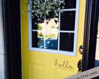 Hello Door Decal, Hello Vinyl Decal, Hello Decal, Hello Vinyl Lettering Front Door Decal, Front Door Hello Decal, Door Decal Sticker, Office