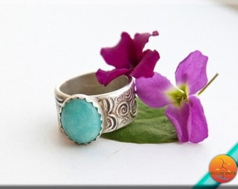 Women's Ring, Fine Silver, Blue Amazonite Natural Stone in Hand Crafted Fine Silver, River Of The Sun Line