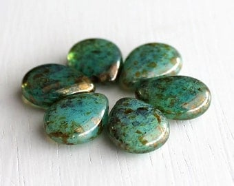 Milky Peridot Bronze Picasso Flat Teardrops 12x16mm Czech Glass Beads
