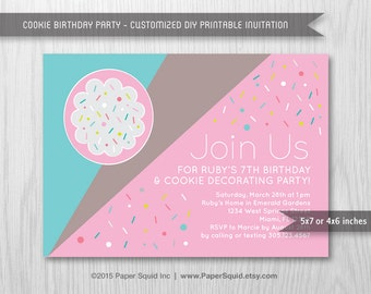 Cookie Decorating Birthday Party Invitation, Modern - 5x7 Inches - Digital File - Print Your Own Item #157