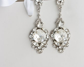 Crystal Wedding Earrings Vintage Bridal Earrings Swarovski Crystal Chandelier Earrings Wedding Jewelry  ESTELLA CRYSTAL EARRINGS