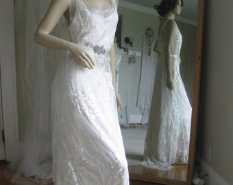 Ivory Lace Twenties Art Deco Vintage Inspired Wedding Gown One of kind Handmade