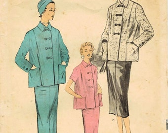 1950s Advance 6589 Vintage Sewing Pattern Misses Maternity Jacket and Skirt Size 12 Bust 30