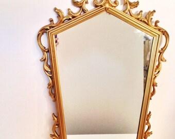 vintage mirror - large gold pentagon mirror - Hollywood Regency