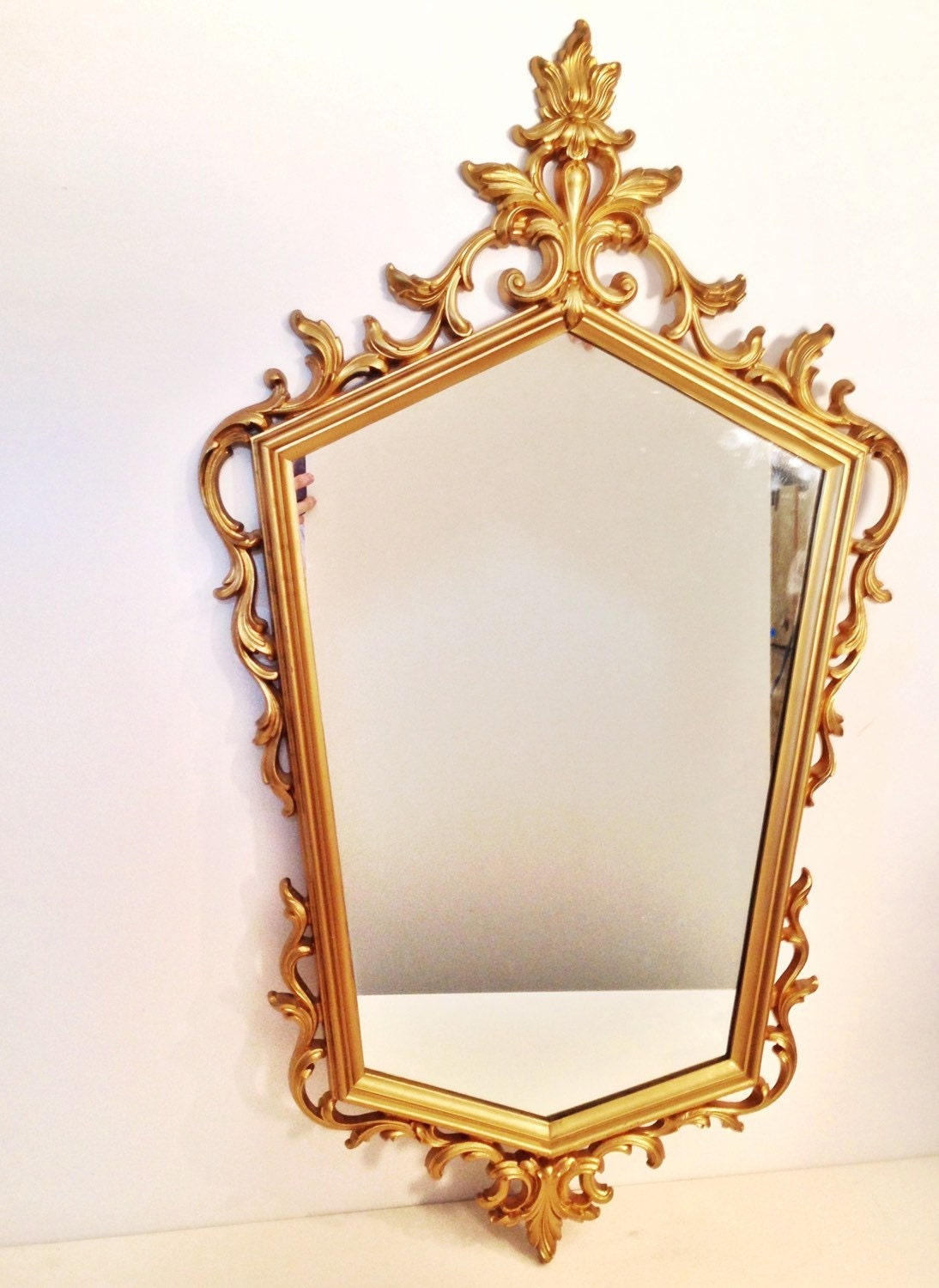 Large Gold Cream Full Face Adult Carnival Stick Mask: Vintage Mirror Large Gold Pentagon Mirror Hollywood