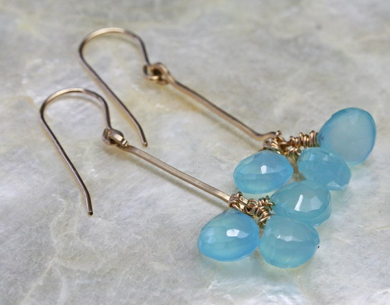 Chalcedony Earrings - Aqua Earrings - Dangle Earrings- Ready to Ship -