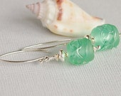 Sea Green Lampwork Glass Bead Earrings, Artisan, Sterling Silver, Blue Earrings - SEA GRASS