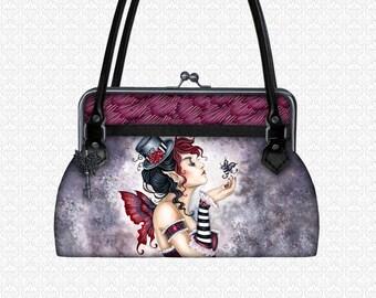 Custom Handbag Fae Risque Purse, shoulder bag top handle bag kiss lock closure, Amy Brown designer art bag, xotic