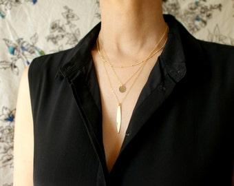 Gold Layered Necklaces Set, Bridal necklace Set of 3 Layered Necklace, Personalized Disk Necklace Layering long Necklace bar necklace