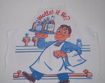 Vintage Bar Apron Bartender Asks Wottel It Be