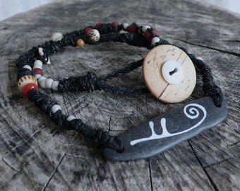Knotted and Beaded Necklace - Beach Slate - Spiral, Life, Meditation