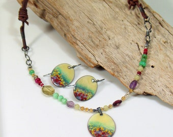 Colorful Garden Pendant, Gemstone and Vitreous Enamel Necklace, Original Art Jewelry, Flower Impressionism Handmade Choker, WillOaks Studio