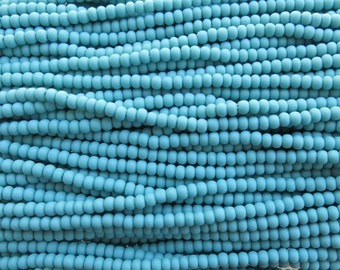 6/0 Matte Opaque Turquoise Czech Glass Seed Bead Strand (CW115)