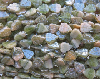 12x10mm 2 Tone Transparent Olive and Opaque Beige Luster Czech Glass Leaf Beads - Qty 20 (ES2)