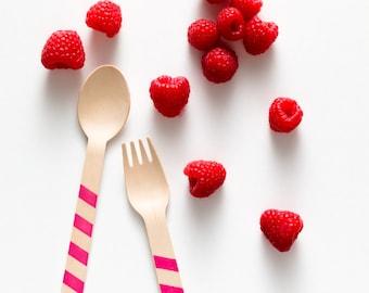 Raspberry Stripes - 20 Wooden Utensils - Choose Forks, Spoons, or Ice Cream Spoons