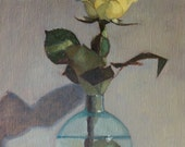 flower study, still life, yellow rose, home decor, gift idea, small painting