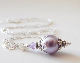 Lavender Bridesmaid Necklaces, Light Purple Pearl Pendant Necklace, Beaded Jewelry for Weddings, Purple Bridesmaid Gift, Lavender Bridal