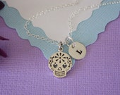 Sugar Skull Necklace Personalized. Teen Necklace, Day of the Dead, Skull, Sterling Silver, Initial Charm