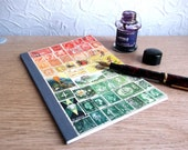 Travel Journal 5, Lined A5 Traveler's Notebook - Upcycled Postage Stamp Art, Boho Orange Green Landscape, Snail Mail Art, Penpal Writer Gift