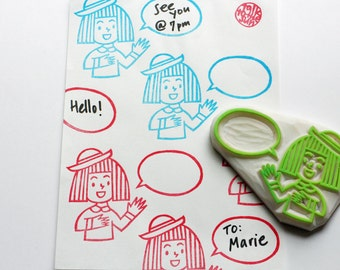 kokeshi girl rubber stamp. girl in a straw hat hand carved rubber stamp. birthday scrapbooking. mail art. art journals. gift wrapping