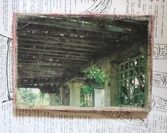 Garden, Pergola, Trellis, Original Art, Mixed Media, Miniature, Reclaimed Wood, 5 x 7
