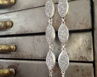 Sterling Silver and leaf shaped Drusy Statement Earrings