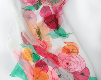 Floral silk chiffon scarf- Ranunculus bouquet,Hand painted silk scarf, Multicolored scarf Lightweight scarf in Pink and green Summer fashion