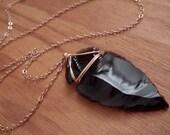 Black Obsidian Arrowhead Rose Gold Necklace