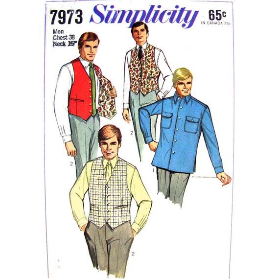 Mens Vintage Sport & Shirt Vest Pattern Simplicity 7973 Reversible Waistcoat Chest 38