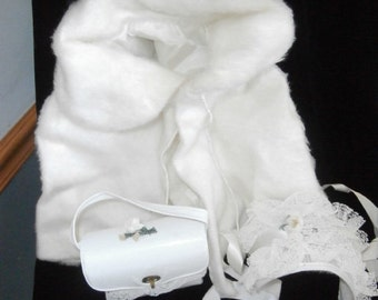 Flower Girl ~ 3 Piece White Poncho ~ Purse ~ Hat  Set ~  Handmade 1950's Girl's Outfit