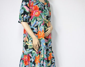 Dress Vintage Tropical Dress 1970's Ruffle Dress Tropical Mu Mu Cotton Boho Hawaiian Casual Lounge Pullover Dress Size Medium