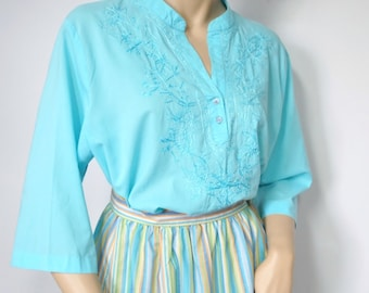 Blouse Vintage Blouse Hippie Shirt Embroidered Turquoise Blouse Boho Women's Top Size Large