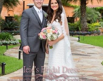 Cathedral Veil | Eyelash Lace Edge Mantilla Veil | Wedding Veil | Bridal Veil | Lace Wedding Veil | Cathedral Lace Veil | Long Veil | VG1009